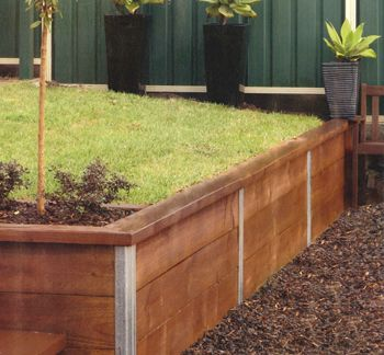 Retain It Post System With Stained Pine Sleepers Houses