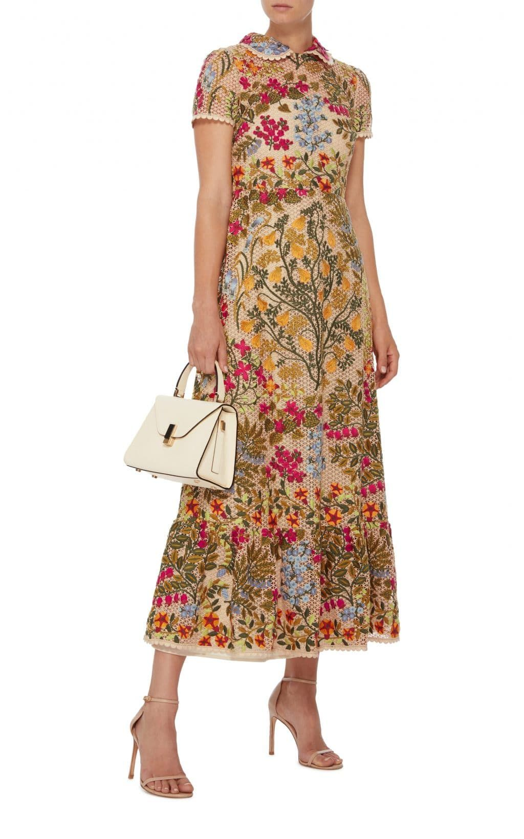 5cf6d117a78 RED VALENTINO Floral Embroidered Macramé Beige Dress - We Select Dresses