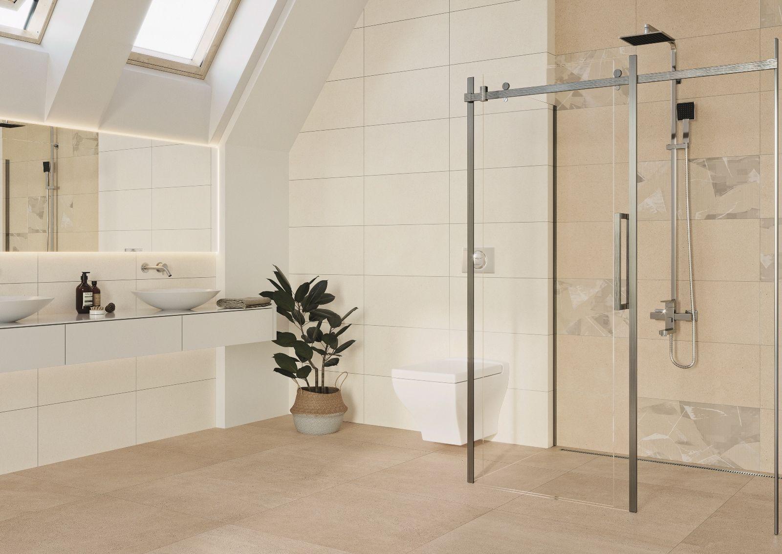 Steuler Paperstone Wandfliese Beige Rektifiziert 30x60cm Badezimmer Mit Dachflachenfenster Hier Wurde In 2020 Badezimmer Badezimmer Fliesen Beige Badezimmer Fliesen