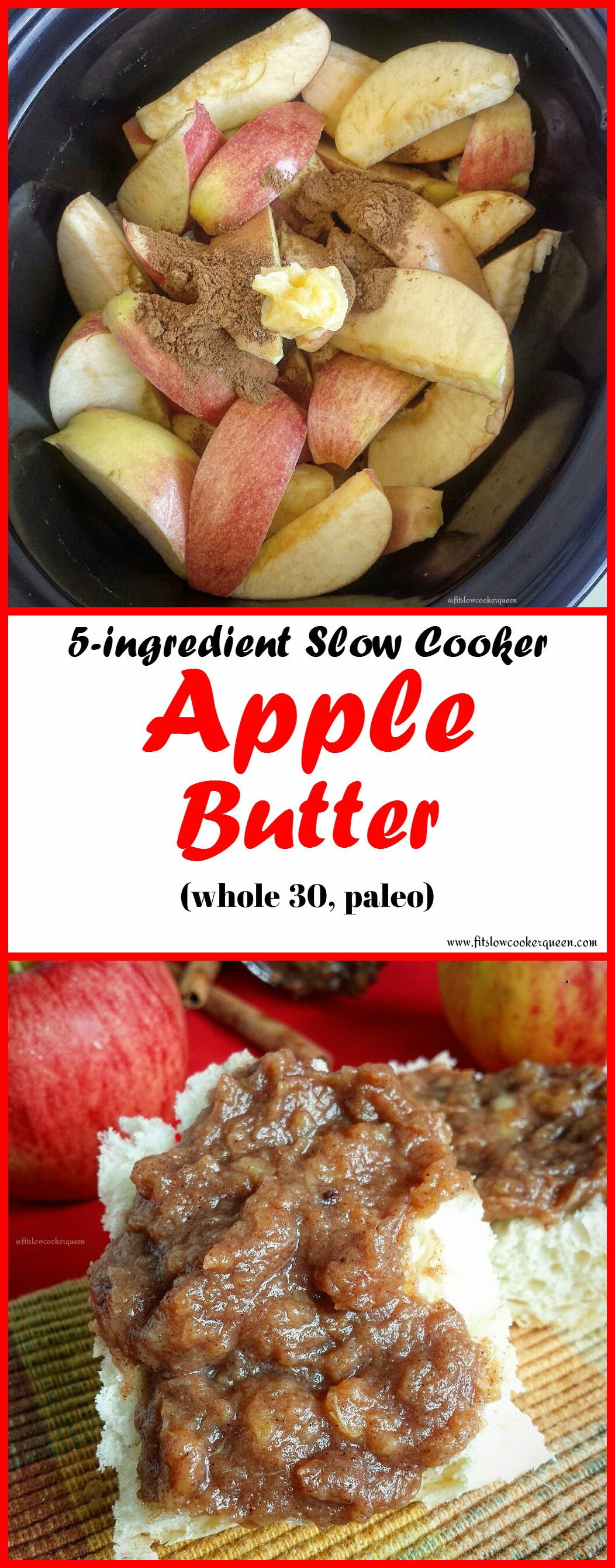 Slow Cooker Apple Butter (Paleo,Whole30) #whole30recipes