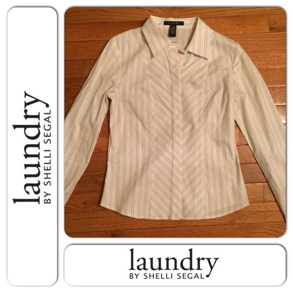 """Laundry By Shelli Segal Striped Button Down SMALL B1-21. Beautiful work shirt - in excellent condition - 61% cotton, 29% nylon, 5% spandex, 5% polyester - arm length: 26"""" armpit to armpit: 17"""" - pink/brown stripes (see picture) Laundry by Shelli Segal Tops Button Down Shirts"""