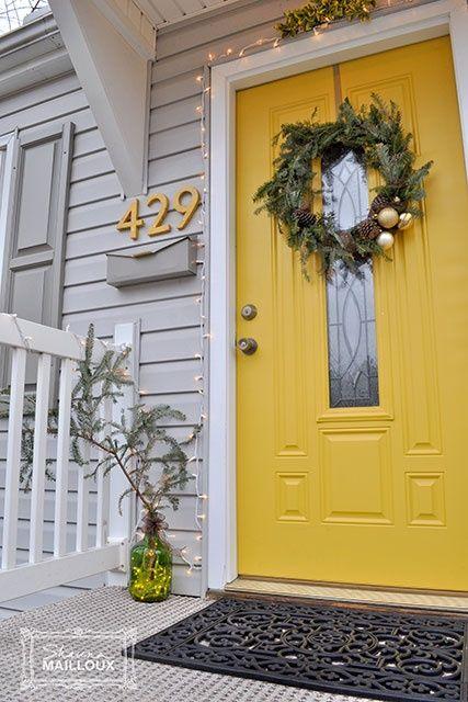 White House Gray Shutters Yellow Door