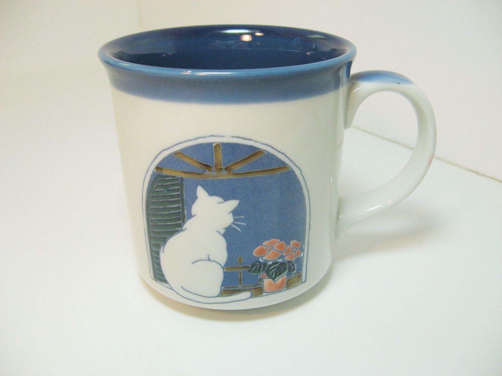 Otagiri Cat in Window Mug Cup Japan Coffee Tea Kitten Flowers Blue