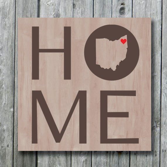 Ohio State Map Home Sign With Hear By Doudouswooddesign