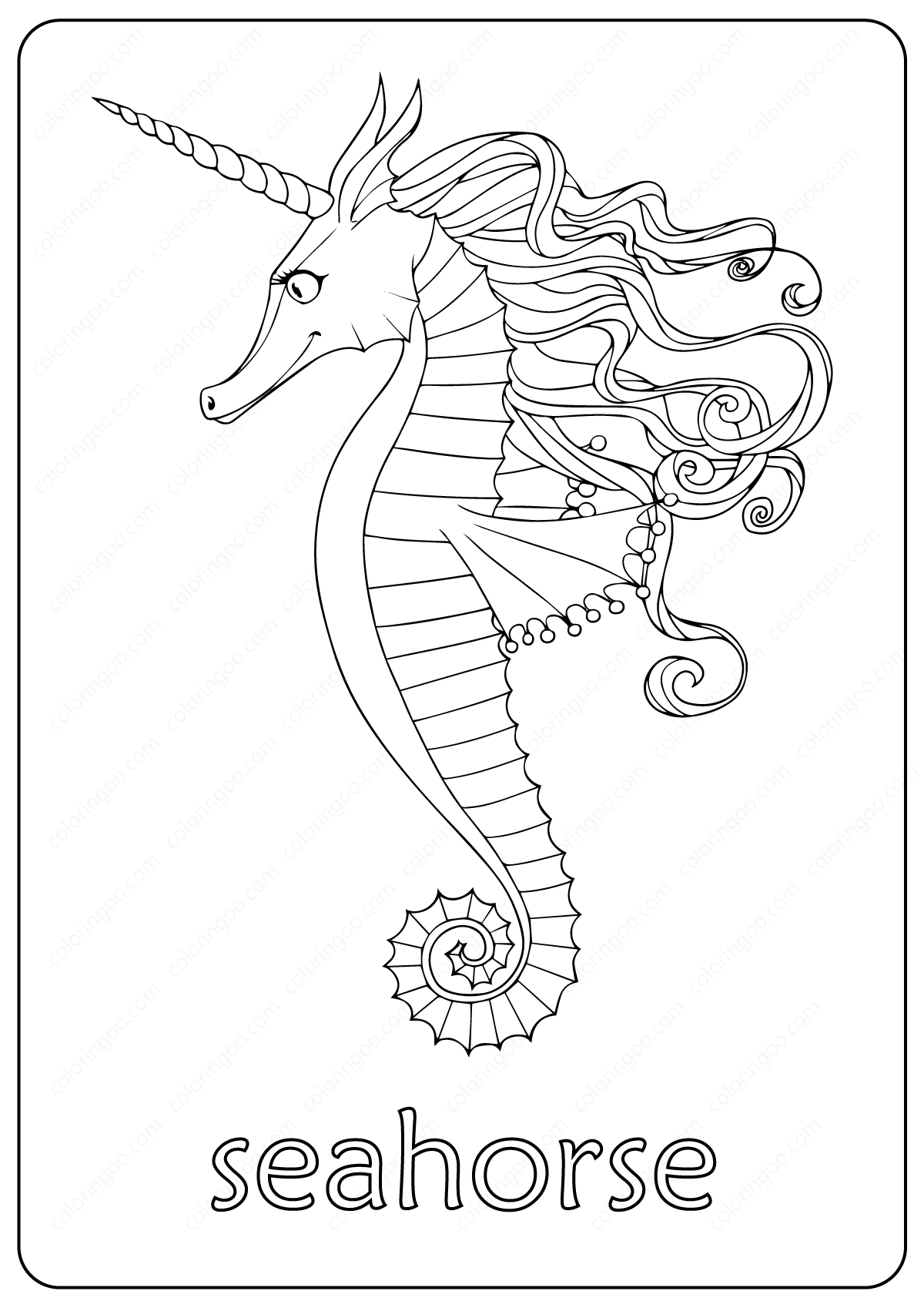 Printable Cute Seahorse Coloring Pages