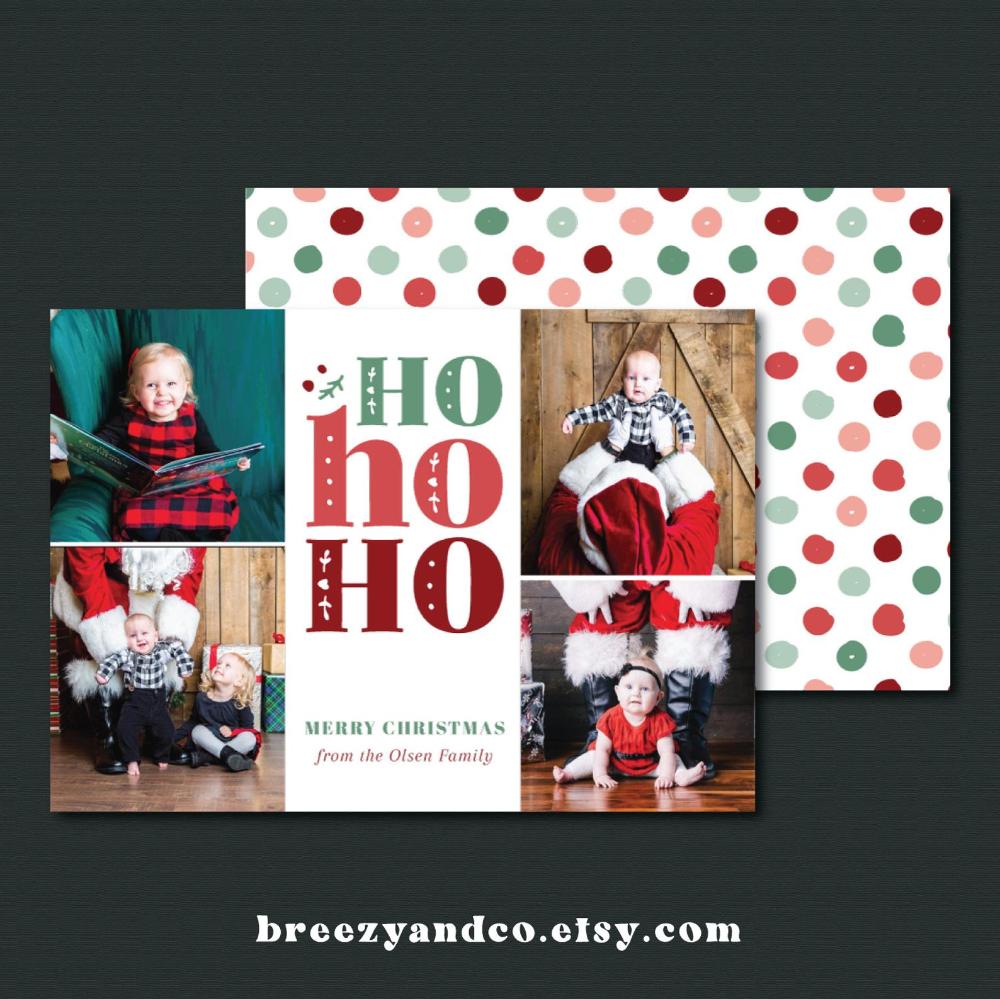 $15 Personalized HO HO HO Christmas Card On Etsy. Cute