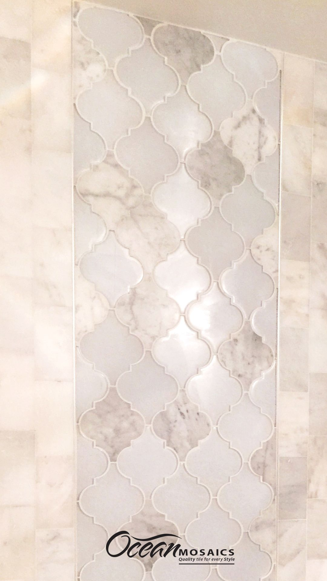 Tile Inlay Shower Wall Moroccan Arabesque Marble and