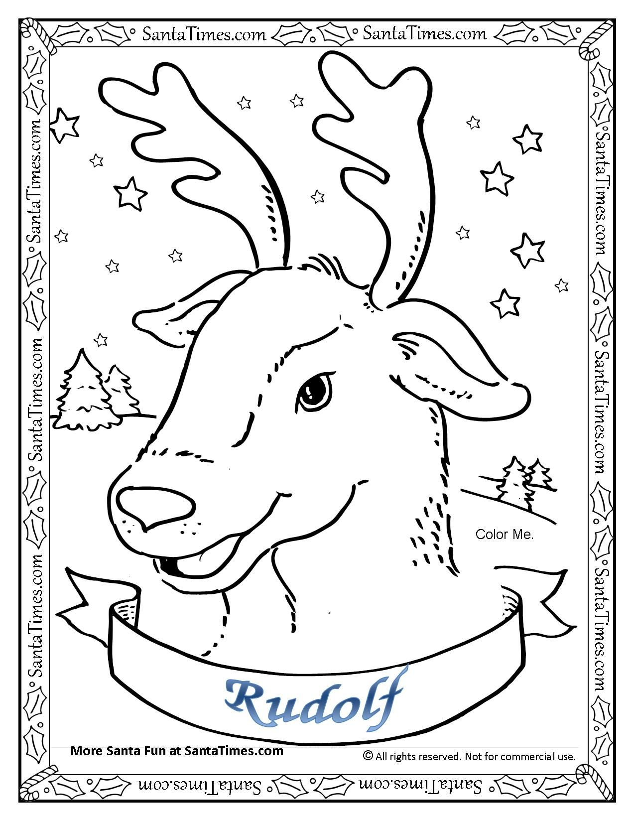 Rudolf The Red Nosed Reindeer Coloring Page Printout. More Fun Holiday  Activities At SantaTimes.com