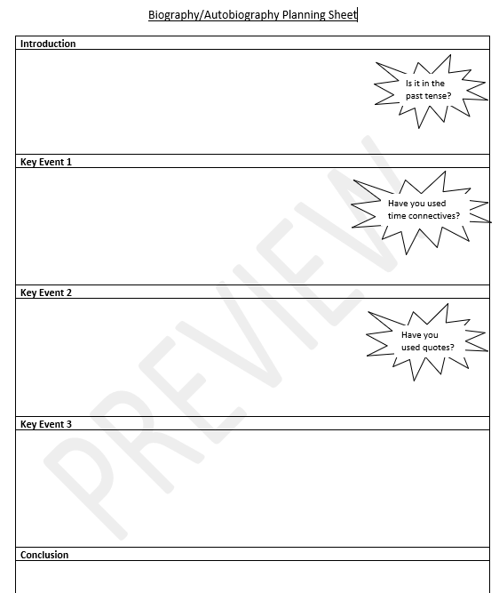 Biography Autobiography Planning Sheet Ks2 Teaching Resources Writing A Biography Book Review Template Autobiography