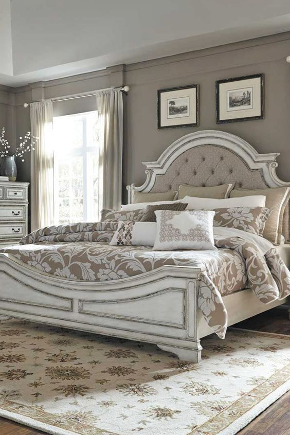 Bring the refined charm of the French country to your bedroom with the Magnolia Manor Bedroom Collection by Liberty Furniture. The antique pewter hardware and beautifully distressed antique whitewashed finish create an elegant and storied feel.