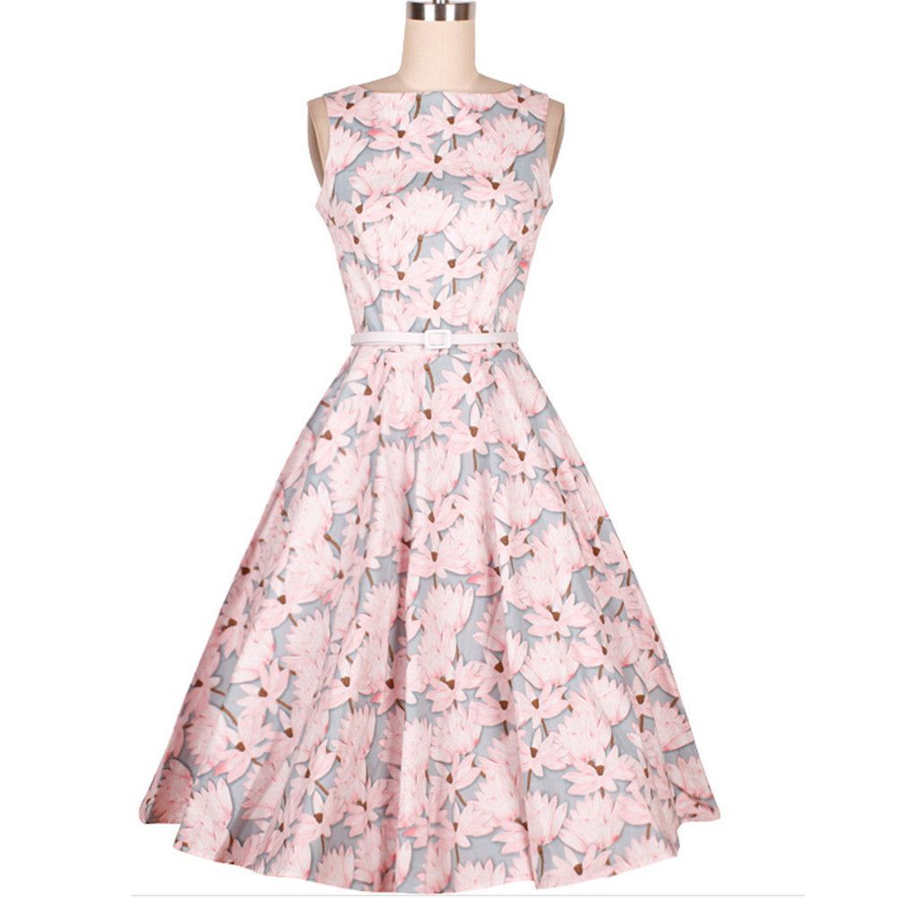 Gender: Women Waistline: Natural Decoration: Draped Sleeve Style: Regular Pattern Type: Print Style: Vintage Material: Cotton,Polyester Season: Summer Dresses Length: Knee-Length Neckline: O-Neck Silh