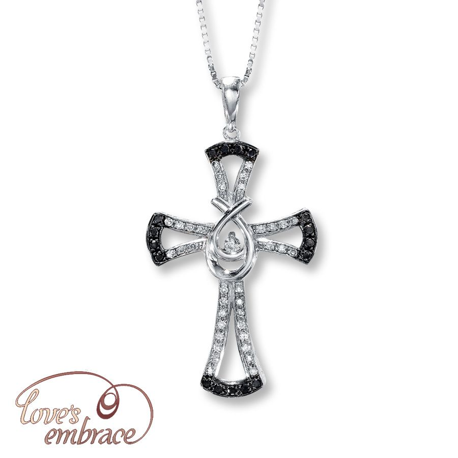 Jared Diamond Cross Necklace 14 ct tw RoundCut Sterling Silver