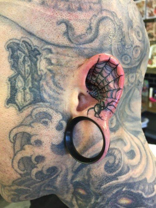 Spider Web Tattoo Behind Ear