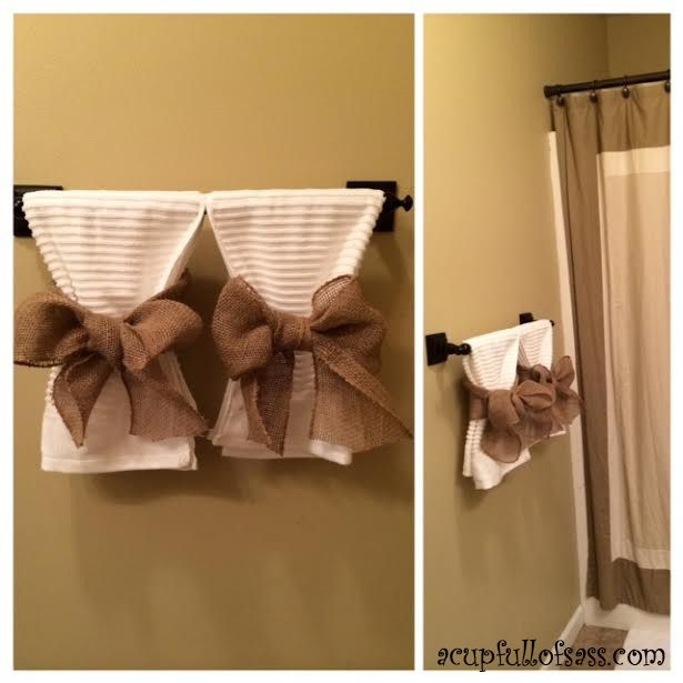 Guest Bathroom Makeover Part 2 A Cup Full Of Sass Bathroom Towel Decor Restroom Decor Bathroom Towels Display