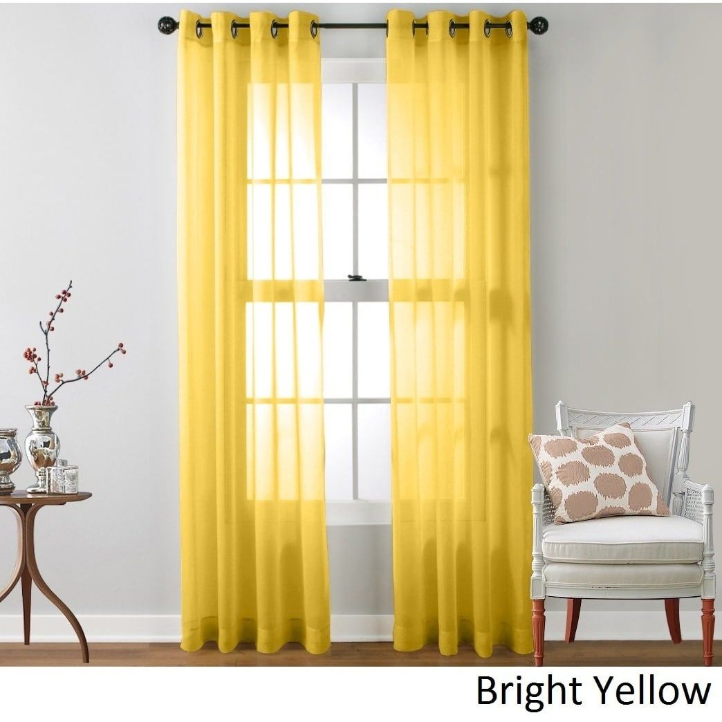 Me Sheer Voile Grommet Top Curtain Panel Pair Bright Yellow 54 X 84