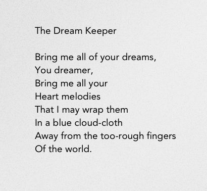 The Dream Keeper By Langston Hughes I Have Lately Taken A Extraordinary Dream Catcher Poem For Kids