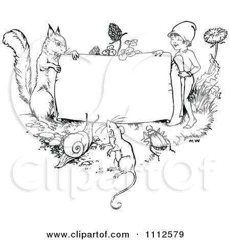 Clipart Black And White Vintage Frame With Animals And A Gnome Royalty Free Vector Illustra Vintage Coloring Books Colorful Drawings Free Vector Illustration