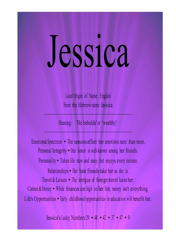 Jessica | J is for     Jessica | Jessica name, Names with meaning