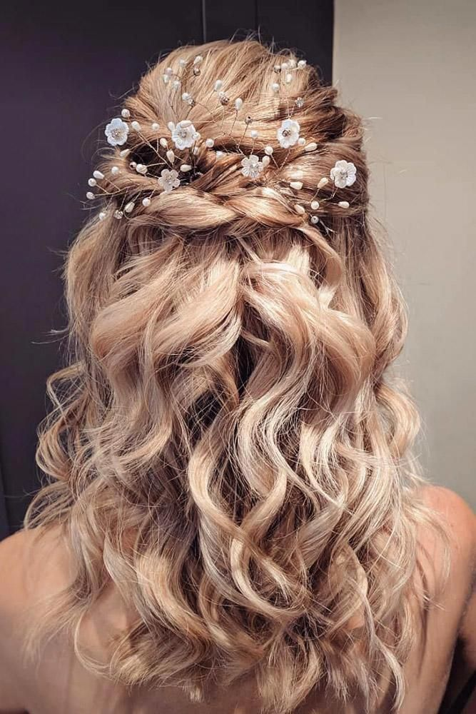 wedding hairstyle trends curly swept half up half down ...