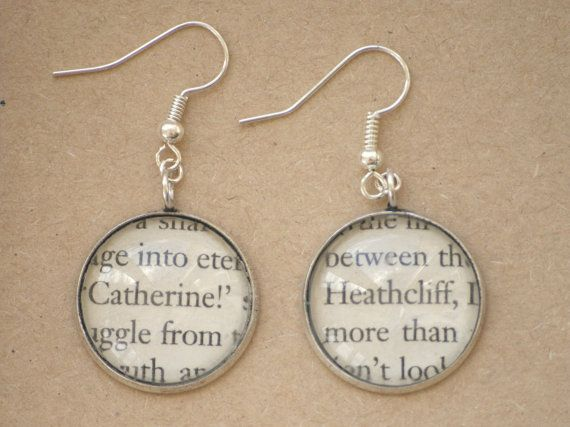 Wuthering Heights book page earrings