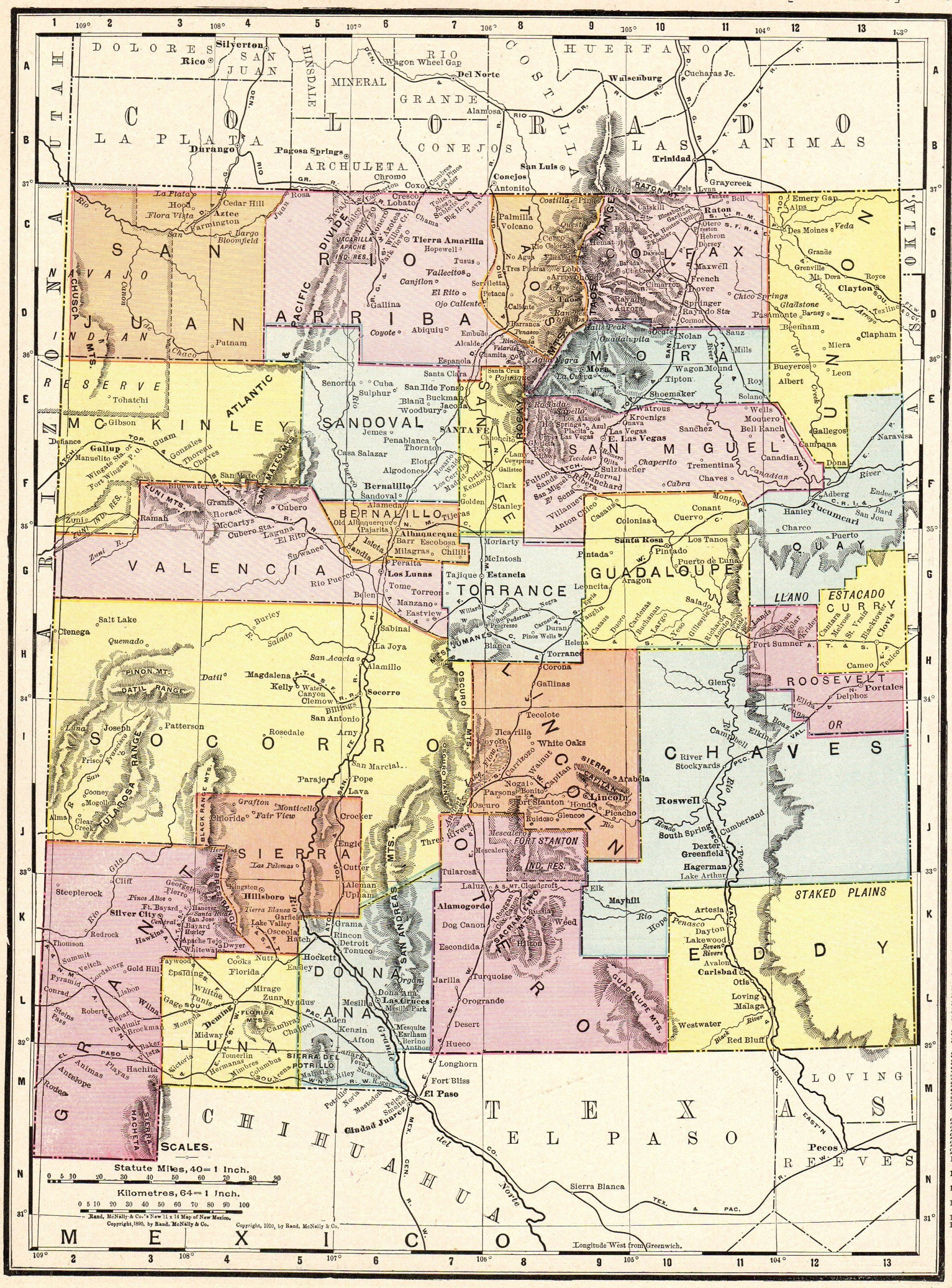 1886 Antique NEW MEXICO Map Vintage State Map of New Mexico Gallery ...