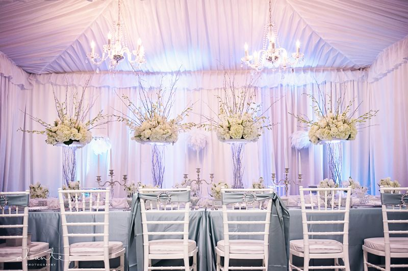 White and Blue Wedding Dcor from Grand Event Rentals Receptions