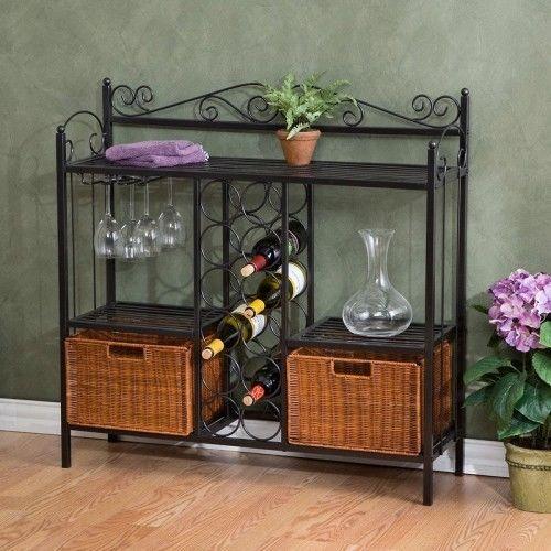 Bakers Rack Wine Storage Bistro 2 Wicker Baskets Glass Holders