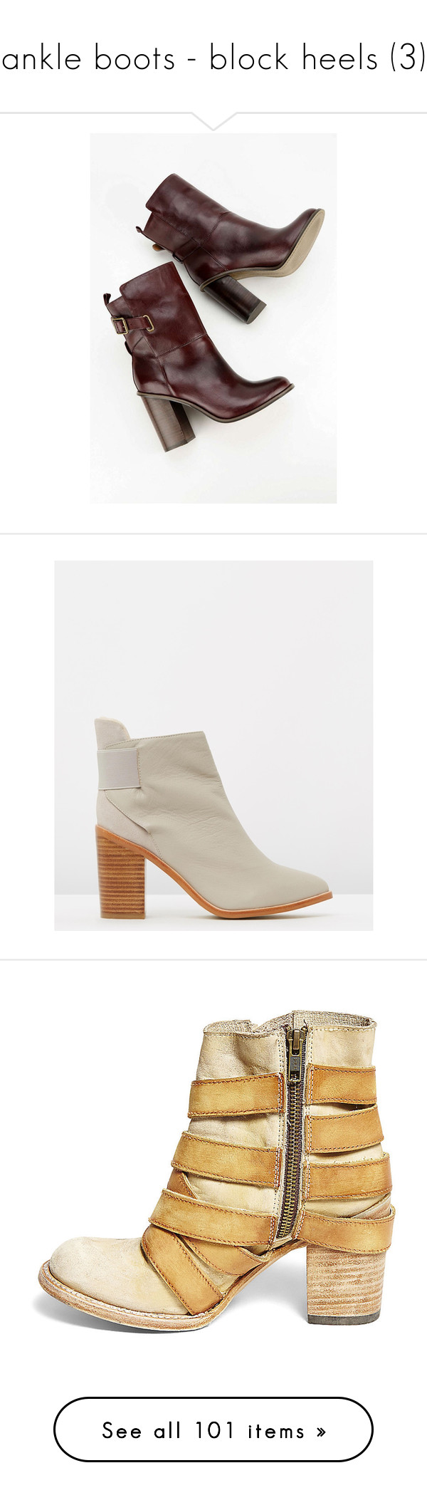 """ankle boots - block heels (3)"" by bonadea007 ❤ liked on Polyvore featuring shoes, boots, ankle booties, ankle boots, leather high heel boots, leather bootie, leather booties, steve madden boots, high heel booties and steve madden booties"