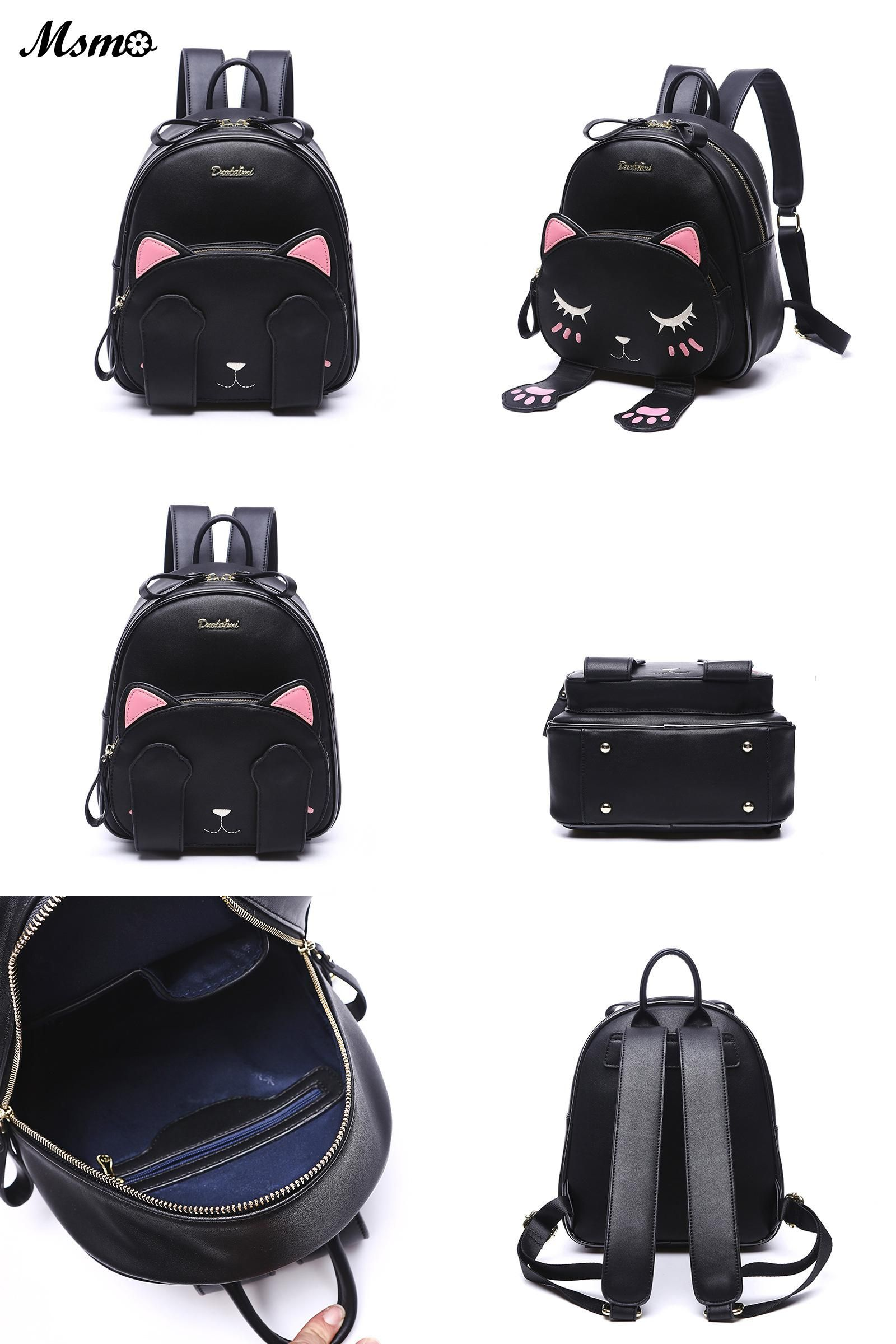 11a0e74845d [Visit to Buy] MSMO Kawaii Cat Ear Backpack Black Preppy Style School  Backpacks For
