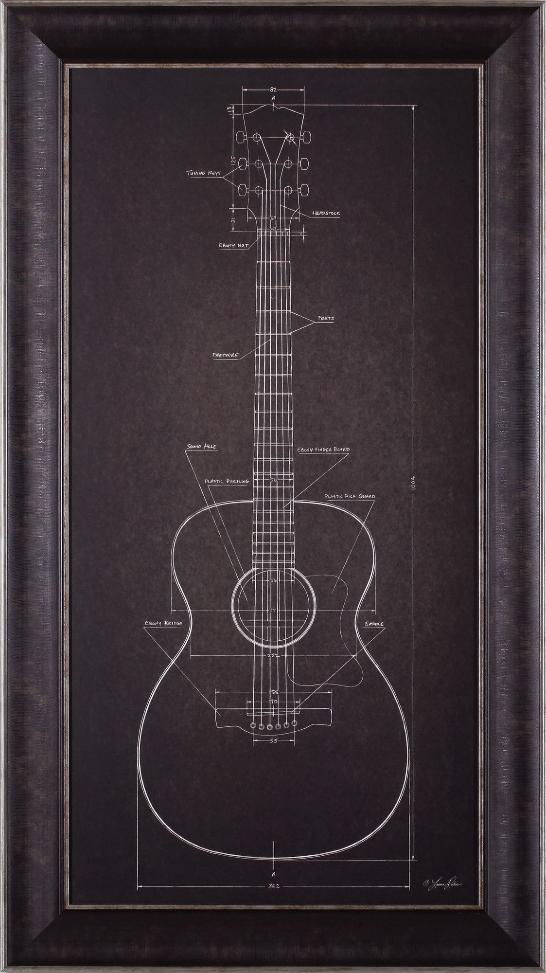 Acoustic guitar blueprint by lauren rader framed graphic art home acoustic guitar blueprint by lauren rader framed graphic art malvernweather Image collections