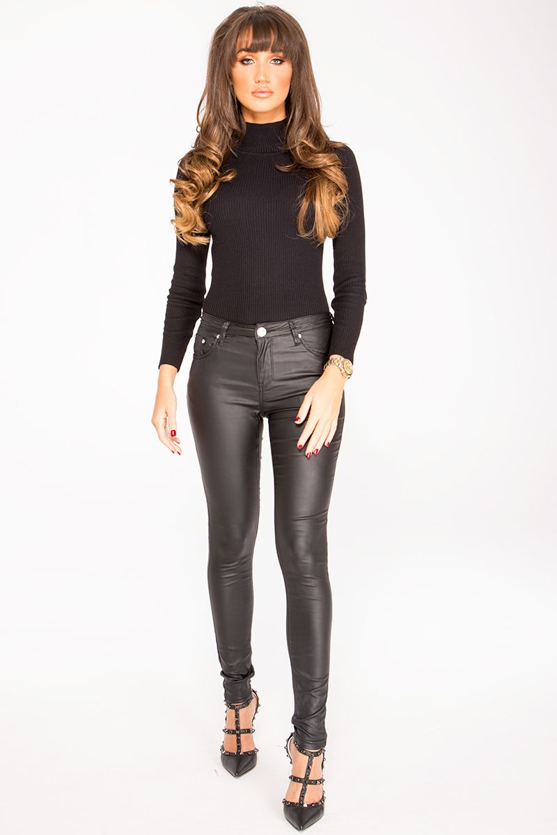 1d78f5e6ec8 Megan Mckenna Black PU Skinny Jeans in 2019