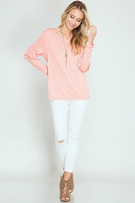 357b9d3dba Long Sleeve Top with Ruffled Elbows in Peach Coral