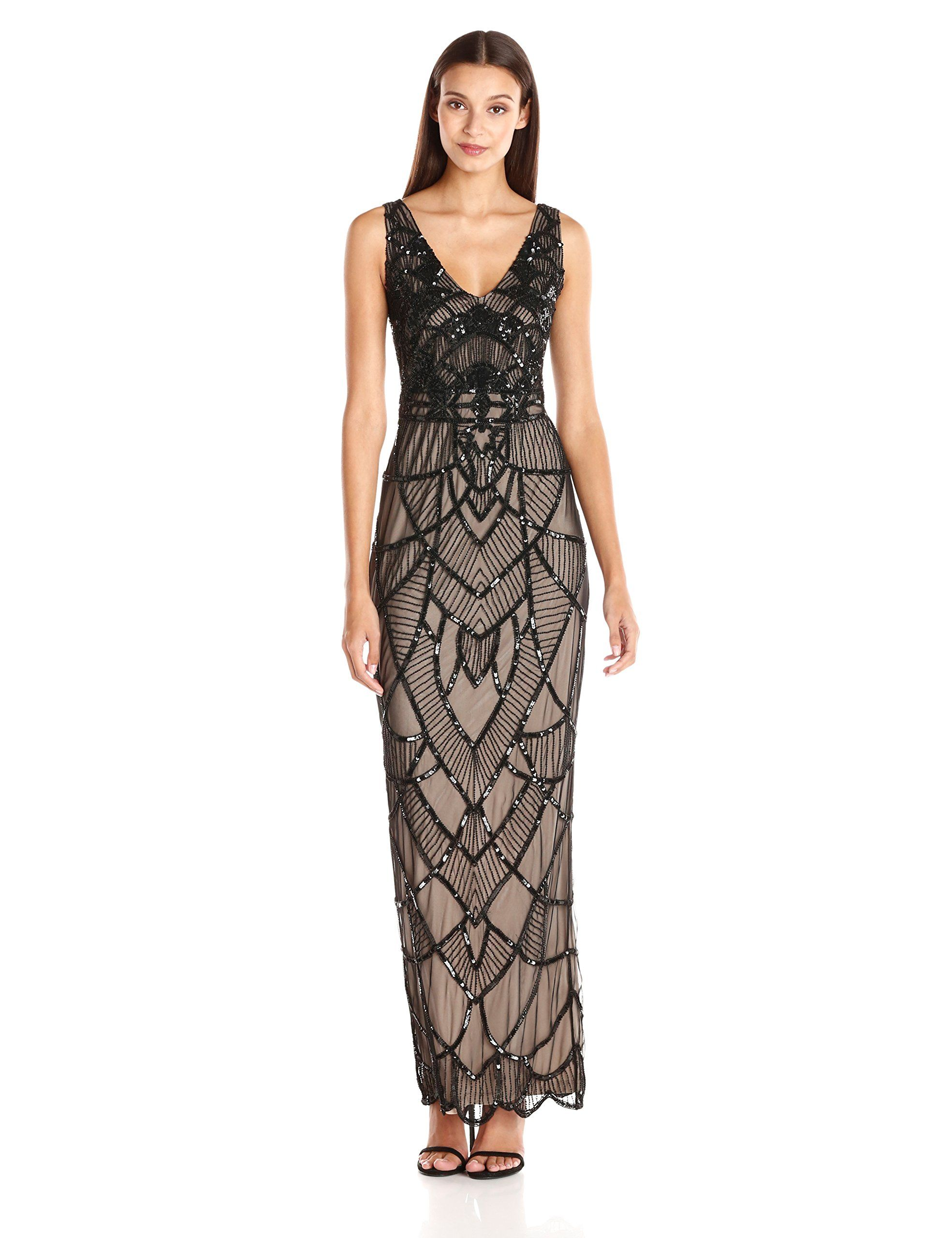 Amazon.com: JS Collection Women\'s Art Deco Beaded V-Neck Gown ...