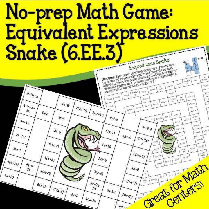 6.EE.3 Noprep Math Game Equivalent Expressions Snake