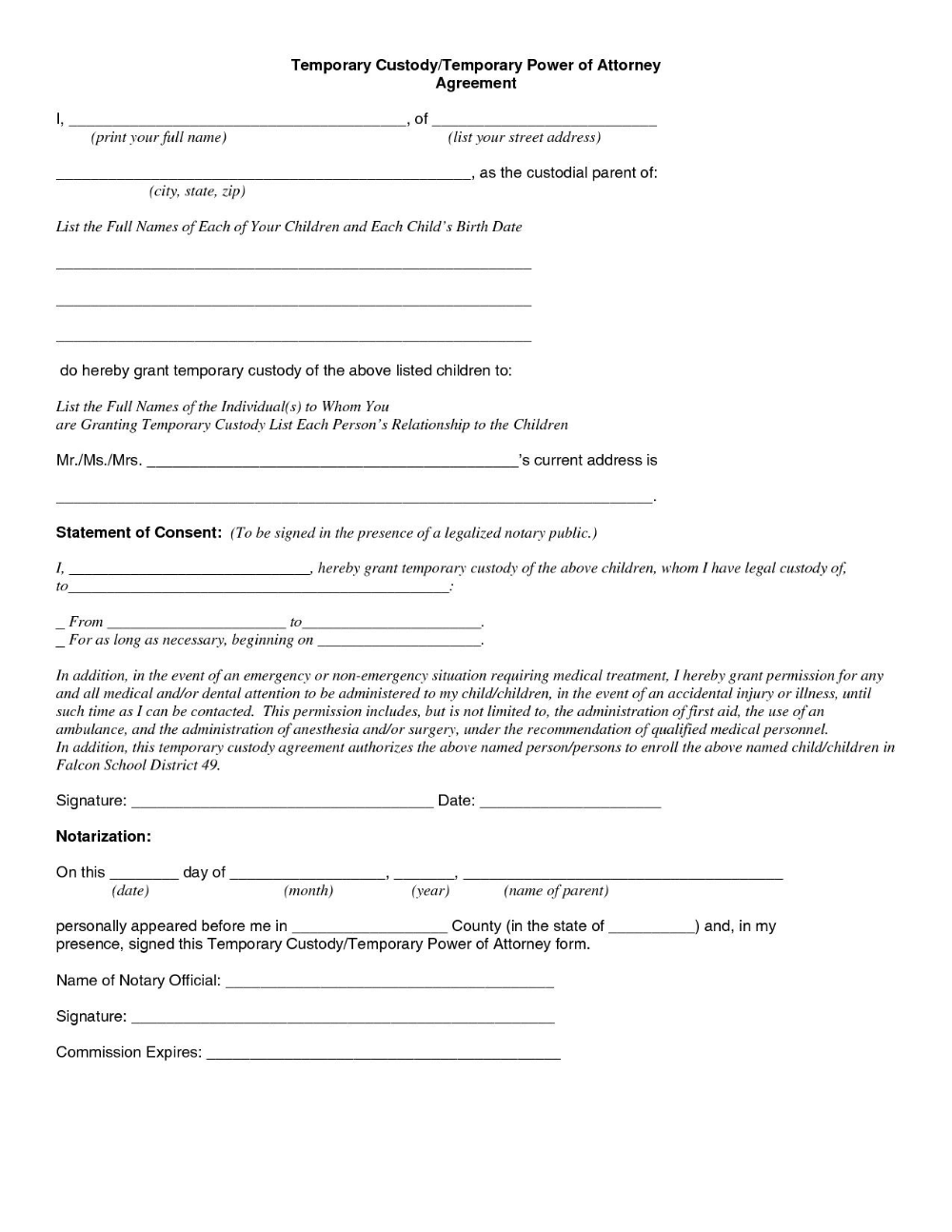 Child Custody Agreement Special Best S Of Temporary Guardianship Throughout Joint Custody Agreement Templ Custody Agreement Power Of Attorney Form Guardianship