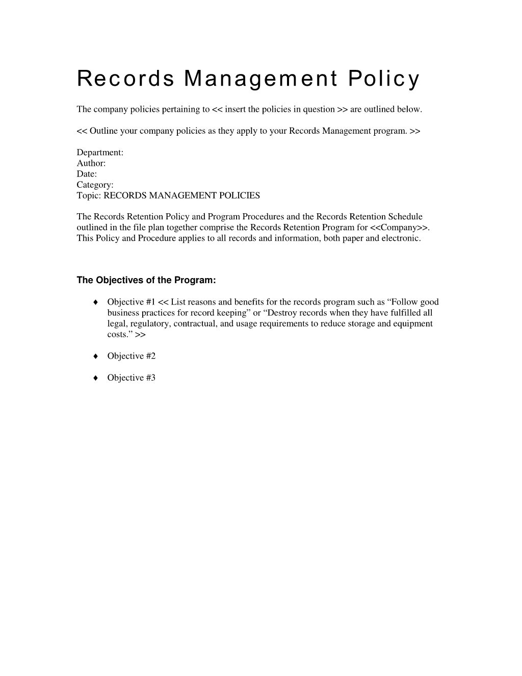 Records Management Policies And Procedures Records Management Project Management Templates Management