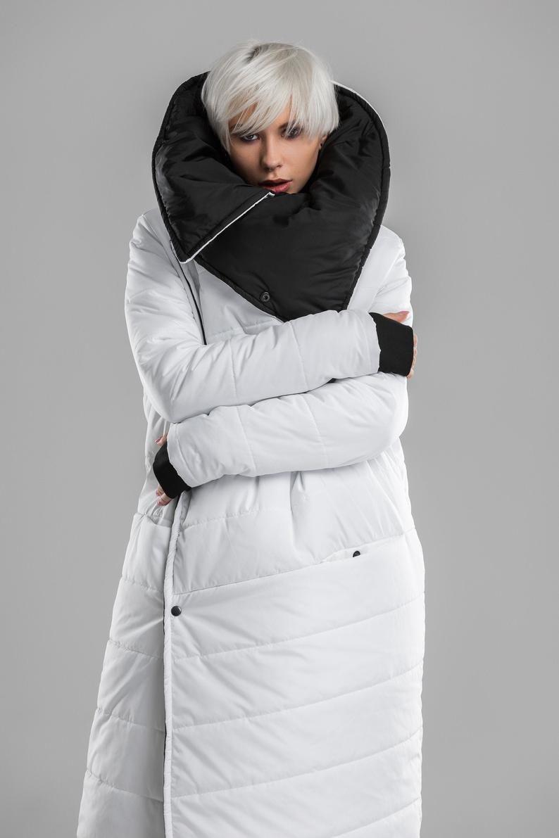 Women Winter Coat White Black Puffer Jacket Long Oversized Etsy Winter Coats Women Black Puffer Jacket Puffer Jacket Long [ 1191 x 794 Pixel ]