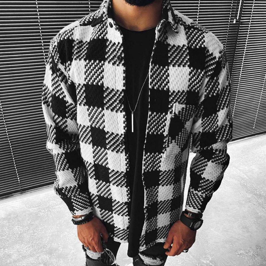 Casual Fashion Check Texture Button Long Sleeve Jacket Salolist Com In 2021 Checks Fashion Outerwear Fashion Clothes [ 900 x 900 Pixel ]