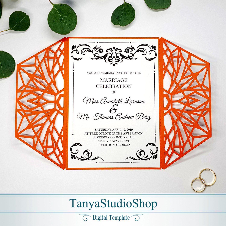 Gate-fold 5x7'' invitation template SVG ai CRD | Etsy | Invitations, Invitation  template, Cards & envelopes
