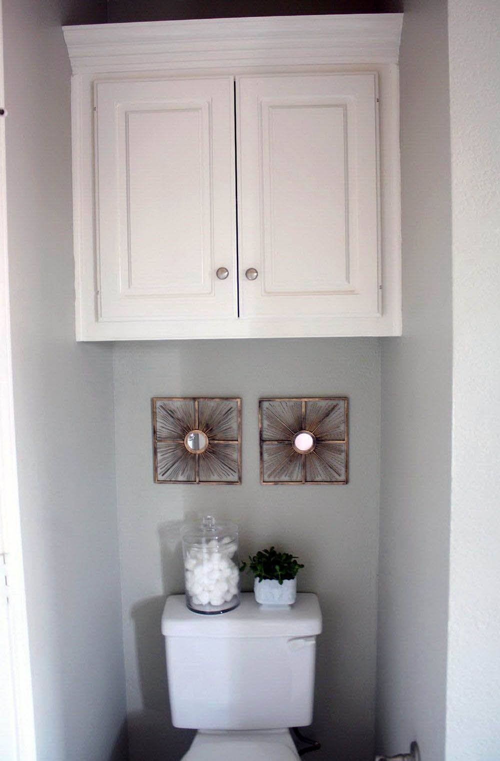 Neutral bathroom storage 30 inches wide just on