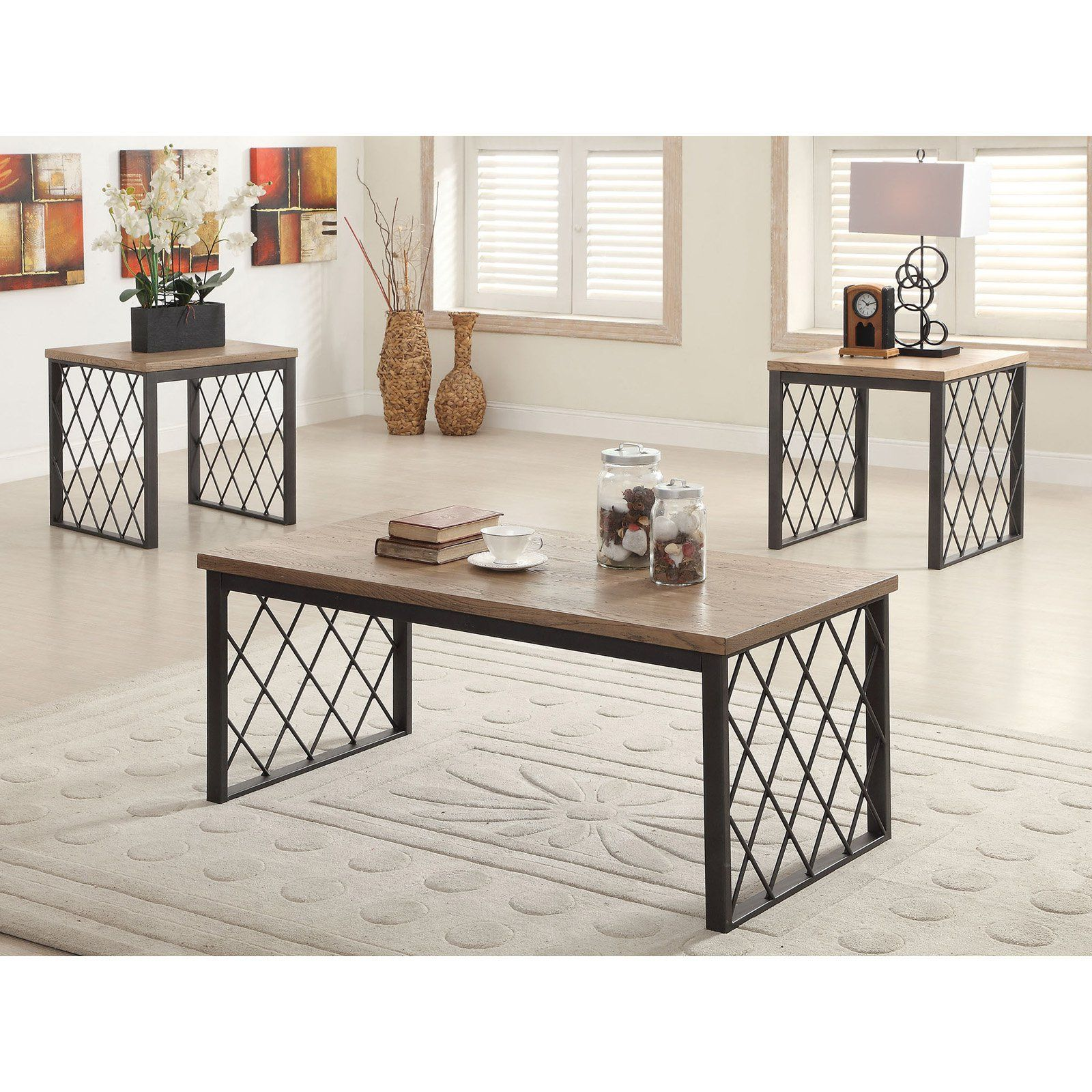 Best Acme Furniture Catalina Light Oak And Gray 3 Piece Coffee 400 x 300