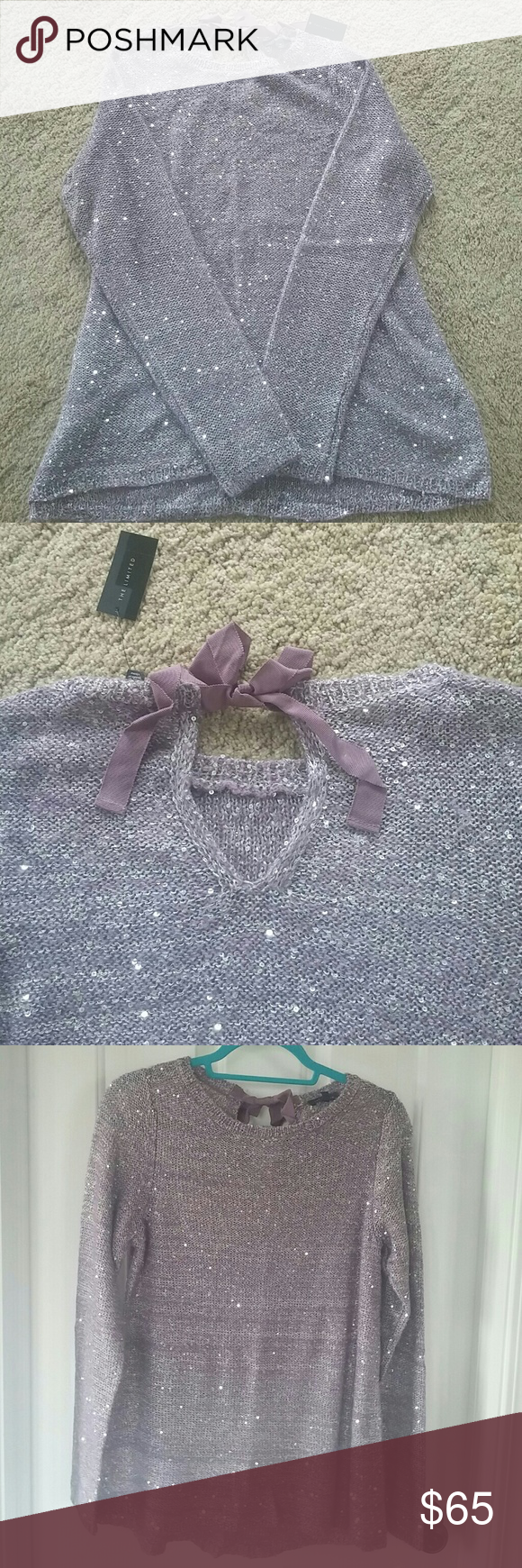 The Limited Purple Sequin sweater