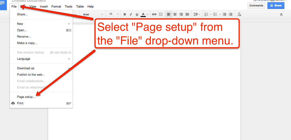 How to create google documents with a landscape