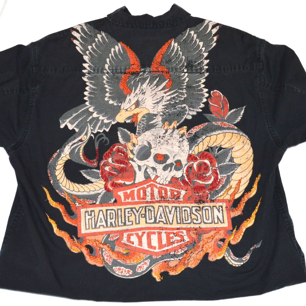 1e01b6832 Harley Davidson H-D Ink L Men's Button Black Shirt Eagle Skull Rose Flames  Snake #HarleyDavidson #ButtonFront