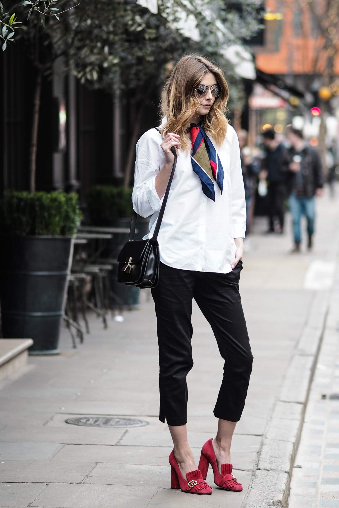6296515cdfc0 white shirt, silk scarf, ankle grazer trousers, celine box bag, red gucci  shoes
