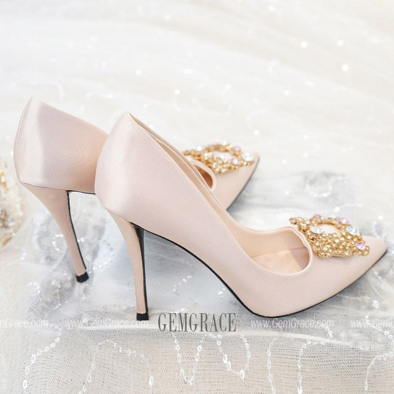 68 99 Comfortable Satin Champagne Wedding Shoes With Sparkly
