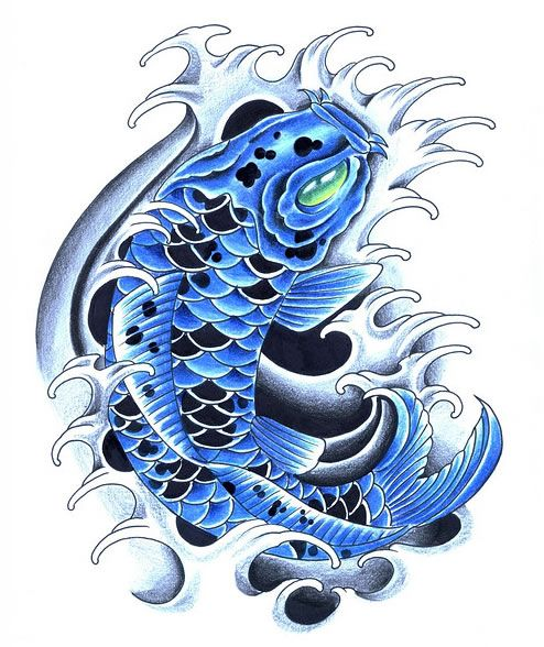 Koi fish drawing color blue images for What color are fish