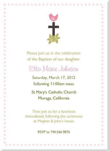 Little Pink Birdie Baptism Christening Invitation Christening