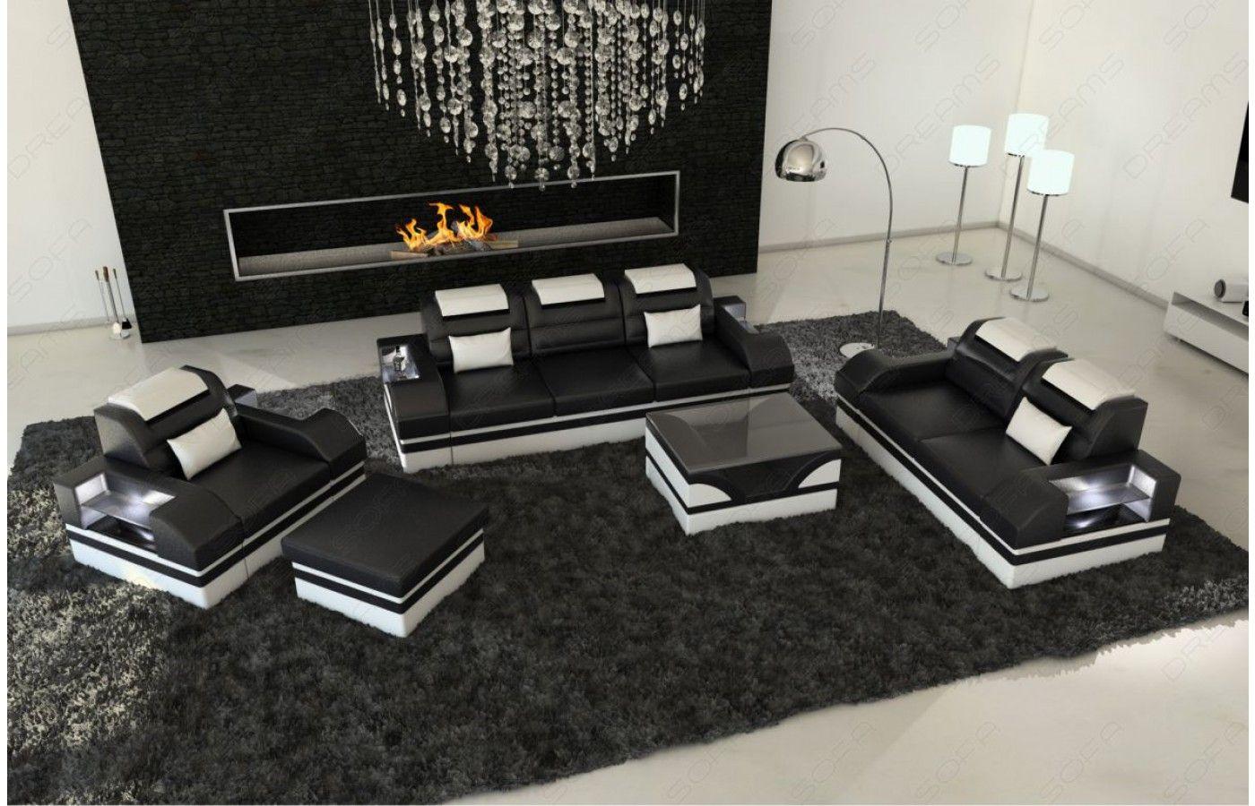 Inspirational  Design Leder Couchgarnitur PARMA mit LED Beleuchtung Exklusiv bei Sofa