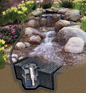 Pondbuilder cascading falls pondless kit landscaping for Kit estanque jardin